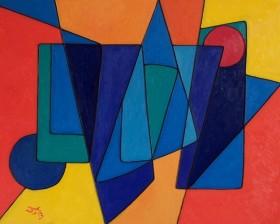 Geometric Abstract in Orange & Blue