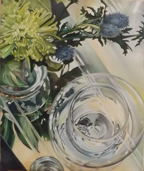 Glass Reflections With Thistles 1