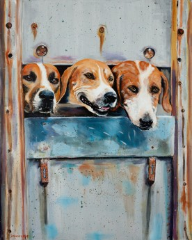 Happy Hunt Hounds Head Home painting for sale