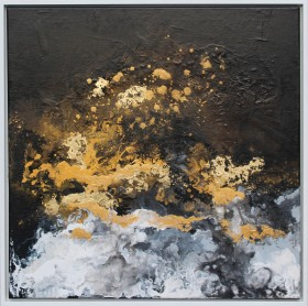 monochrome and gold painting