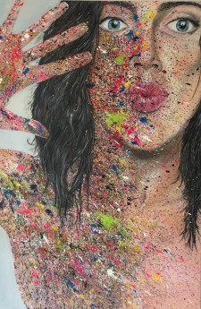 I Want Candy! (59 x 39 x1) inches (149.86 x 99.06 2.5) cm Large oil on canvas painting of a a woman splattered with different coloured paints. The idea for this painting came from a theme that I was doing based on people.  The picture of the woman is nobo