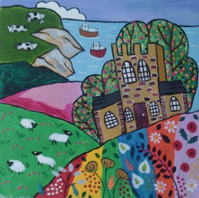 Colourful Naive seascape with Church