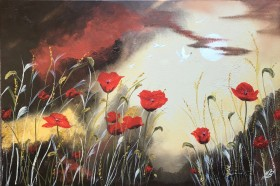 Poppies under a Full Moon