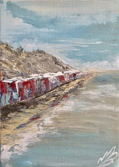 Beach Huts Under the Cliff