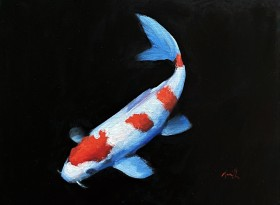 Koi carp oil painting