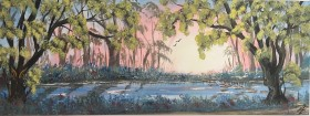 Blue bell wood on a panoramic canvas