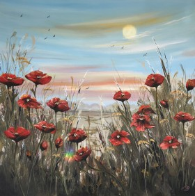 Red poppies under a full moon