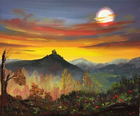 Corfe Castle at sunset on a large canvas