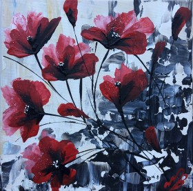 Poppies on a small square canvas