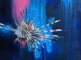 Realistic wildlife painting, animals, birds, oil paint, spray paint, urban/street, colourful.