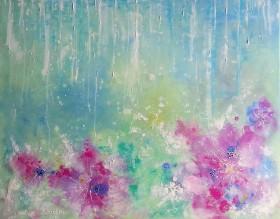 Rain in the pastel garden