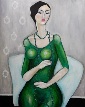 """Lady in green 33""""x23"""""""