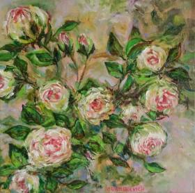 Blooming White Roses Bush