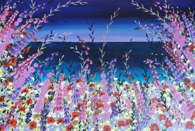 Contemporary beach flowers painting