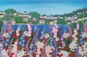 Contemporary lake meadow flowers painting