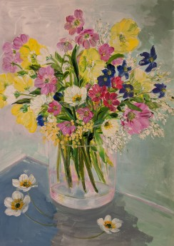 Mixed Wild Flowers in a Glass