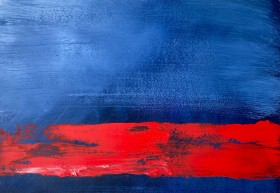 Abstract painting,, blue, red, oil paint.