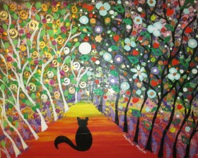 One Black Cat in a Fantasy Forest