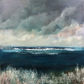 Seascape Cornwall sky swirling clouds impressionist grasses  surf clouds