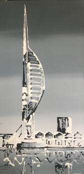 Spinnaker tower portrayed in black and white