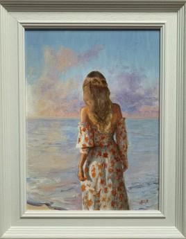 Framed woman beach sky sunset painting