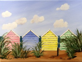Beach huts and sun