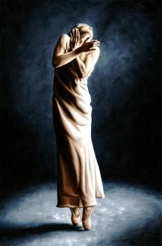Fine art contemporary original oil painting of a beautiful ballerina dancer