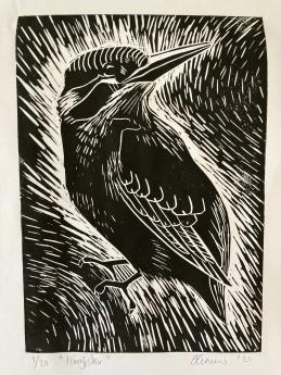 Kingfisher, wildlife art, lino cut, birdlife, birds, printmaking, black and white print. limited edition original print.