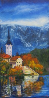 canvas oil painting of Lake Bled, Slovenia by Maureen Greenwood