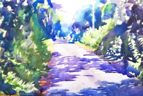 Painting country lane summers day McQuillan