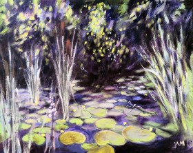 water plants lilypads dragonflies bulrushes