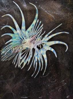 Fantastical lionfish... black ink background with metallic spatterwork