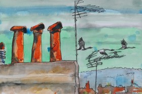 Cranes fly south - chimneys watch