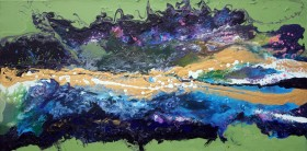 View of abstract wave painting