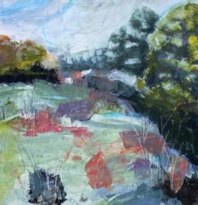 Acrylic, landscape, meadow wetland, woodlands, flooded field, marsh plants