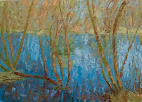 Mitcham Common Spring Reflections Oil Painting on Canvas