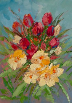 Flowers Bouquet Oil Painting on Canvas on wall