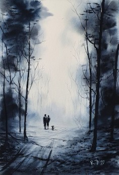 Walk In Moonlight - Original watercolour painted by Rick Figg - Walk in the woods with the dog