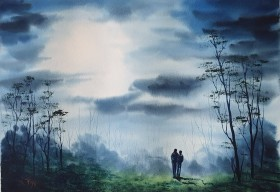 Original Watercolour by Ricky Figg - Moonlight Walkers - couple walking in the woods in moonlight