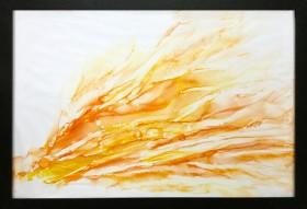 orange yellow smoke painting