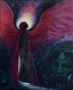 painting, acrylic painting, canvas art, spiritual art, angel, mysterious, moody, dark, symbolic, hope