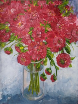 Red Dahlia in a Glass Vase