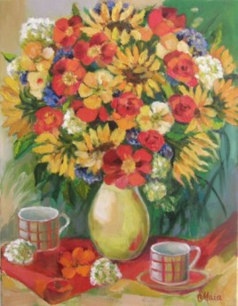 Bouquet of Poppies and Sunflowers
