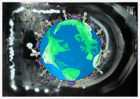 Planet Earth – Mandala with Dancing Creatures