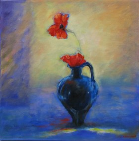 blue jug and poppies