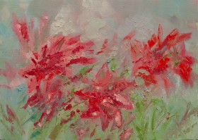 Red Flowers Oil Painting on Canvas