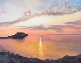 Rhossili bay Sunset, Gower peninsula, Worms head, the Gower, south wales,