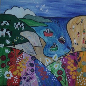 Colourful Naive seascape with cows