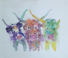 Three quirky Colourful Cows