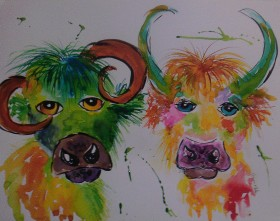 Two quirky colourful Cows